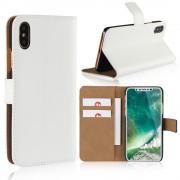 Iphone X flip cover i split læder hvid Mobilcovers