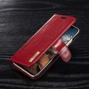 Iphone X 2 i 1 cover i ægte læder rød Mobilcovers