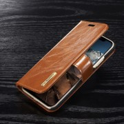 Iphone X 2 i 1 cover i ægte læder lysebrun Mobilcovers