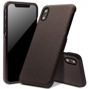 Iphone X cover mesh design ægte læder brun Mobilcovers