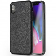 Ægte skind cover sort Iphone X Mobilcovers