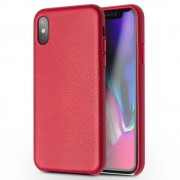 Ægte skind cover rød Iphone X Mobilcovers