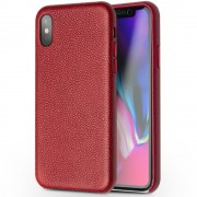 Ægte skind cover bordeauxrød Iphone X Mobilcovers