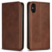 Iphone X læder cover mørkebrun Mobil tilbehør
