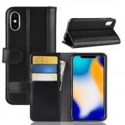 Flip cover ægte læder sort Iphone Xs Max Mobil tilbehør