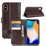 Flip cover ægte læder brun Iphone Xs Max Mobil tilbehør