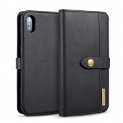 2 i 1 cover sort ægte læder Iphone XS Max Mobil tilbehør
