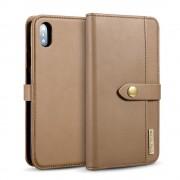 2 i 1 cover ægte læder brun Iphone XS Max Mobil tilbehør