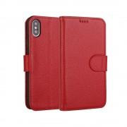 rød Premium læder cover Iphone XS Max Mobil tilbehør