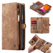 2 i 1 luksus læder pung etui Iphone 11 brun Mobil tilbehør