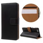Iphone 7 cover i split læder sort Mobiltelefon tilbehør
