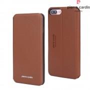 Iphone 7 plus etui Pierre Cardin design brun Mobiltelefon tilbehør