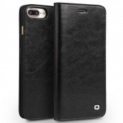 Iphone 7 plus premium læder cover med kort holder sort Mobiltelefon tilbehør