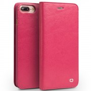 Iphone 7 plus premium læder cover med kort holder rosa Mobiltelefon tilbehør