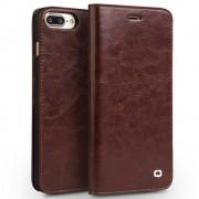 Iphone 7 plus premium læder cover med kort holder brun Mobiltelefon tilbehør