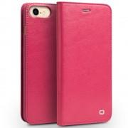 Iphone 7 premium læder cover med kort holder rosa Mobiltelefon tilbehør