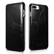 Iphone 7 plus etui Icarer edge ægte læder sort Mobiltelefon tilbehør