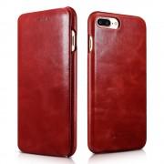 Iphone 7 plus etui Icarer edge ægte læder rød Mobiltelefon tilbehør