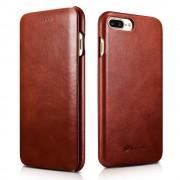 Iphone 7 plus etui Icarer edge ægte læder brun Mobiltelefon tilbehør