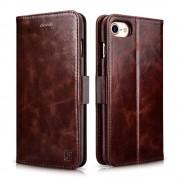 Iphone 7 etui cover fra icarer wax 2 i 1 ægte læder Mobiltelefon tilbehør