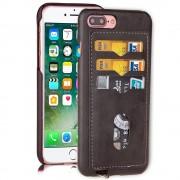 Iphone 7 plus cover med 3 kort lommer mørkegrå, Apple Iphone 7 plus Mobil tilbehør Leveso.dk