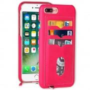 Iphone 7 plus cover med 3 kort lommer rosa, Apple Iphone 7 plus Mobil tilbehør hos Leveso.dk