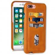 til Iphone 7 plus orangebrun cover med 3 kort lommer , Apple Iphone 7 plus Mobil tilbehør Leveso.dk