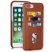 Iphone 7 plus brun bagcover med 3 kort lommer , Apple Iphone 7 plus Mobil tilbehør Leveso.dk