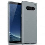 Galaxy Note 8 cover tpu læder grå Mobilcover