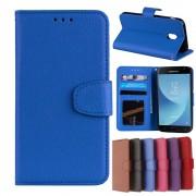 Galaxy J3 2017 flip cover med lommer blå Mobilcovers