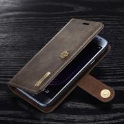 Galaxy J3 2017 flip cover ægte split læder mørkebrun Mobilcovers