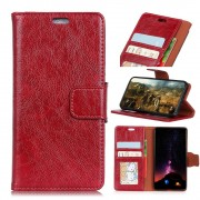 Klassisk læder cover rød Galaxy A8 2018 Mobilcovers