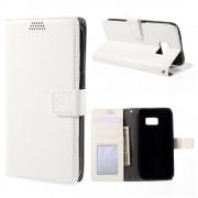 SAMSUNG GALAXY S7 EDGE læder pung cover, hvid Mobiltelefon tilbehør