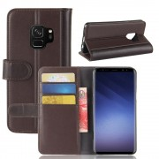 Flip cover ægte læder brun Galaxy S9 Mobilcovers