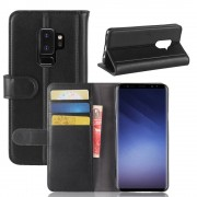 Flip cover ægte læder sort Galaxy S9 plus Mobilcovers