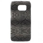 SAMSUNG GALAXY S7 EDGE bag cover med læder, sort slange Mobiltelefon tilbehør