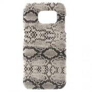 SAMSUNG GALAXY S7 EDGE bag cover med læder, hvid slange Mobiltelefon tilbehør