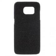 SAMSUNG GALAXY S7 EDGE bag cover med læder, sort glitter Mobiltelefon tilbehør