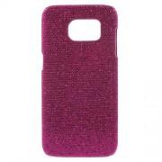 SAMSUNG GALAXY S7 EDGE bag cover med læder, rosa glitter Mobiltelefon tilbehør