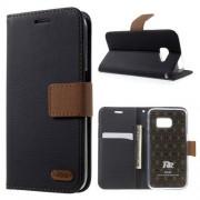 SAMSUNG GALAXY S7 retro læder cover med kort lommer, sort Mobiltelefon tilbehør