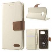 SAMSUNG GALAXY S7 retro læder cover med kort lommer, hvid Mobiltelefon tilbehør