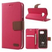 SAMSUNG GALAXY S7 retro læder cover med kort lommer, rosa Mobiltelefon tilbehør