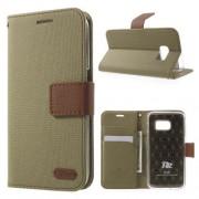 SAMSUNG GALAXY S7 retro læder cover med kort lommer, army grøn Mobiltelefon tilbehør