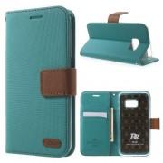SAMSUNG GALAXY S7 retro læder cover med kort lommer, blå Mobiltelefon tilbehør