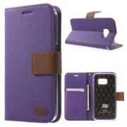 SAMSUNG GALAXY S7 retro læder cover med kort lommer, lilla Mobiltelefon tilbehør