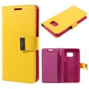SAMSUNG GALAXY S7 pung læder cover gul, Mobiltelefon tilbehør