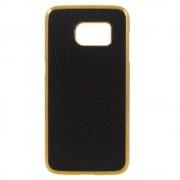 SAMSUNG GALAXY S7 bag cover i split læder, guld / sort Mobiltelefon tilbehør