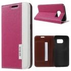 SAMSUNG GALAXY S7 fashion læder cover rosa, Mobiltelefon tilbehør