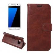 SAMSUNG GALAXY S7 EDGE vintage læder cover brun, Mobiltelefon tilbehør
