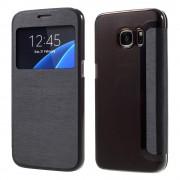 SAMSUNG GALAXY S7 tynd læder cover med vindue, sort Mobiltelefon tilbehør